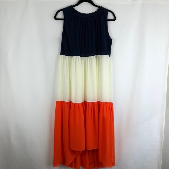 Navy, Cream and Orange Tiered Full Maxi Dress